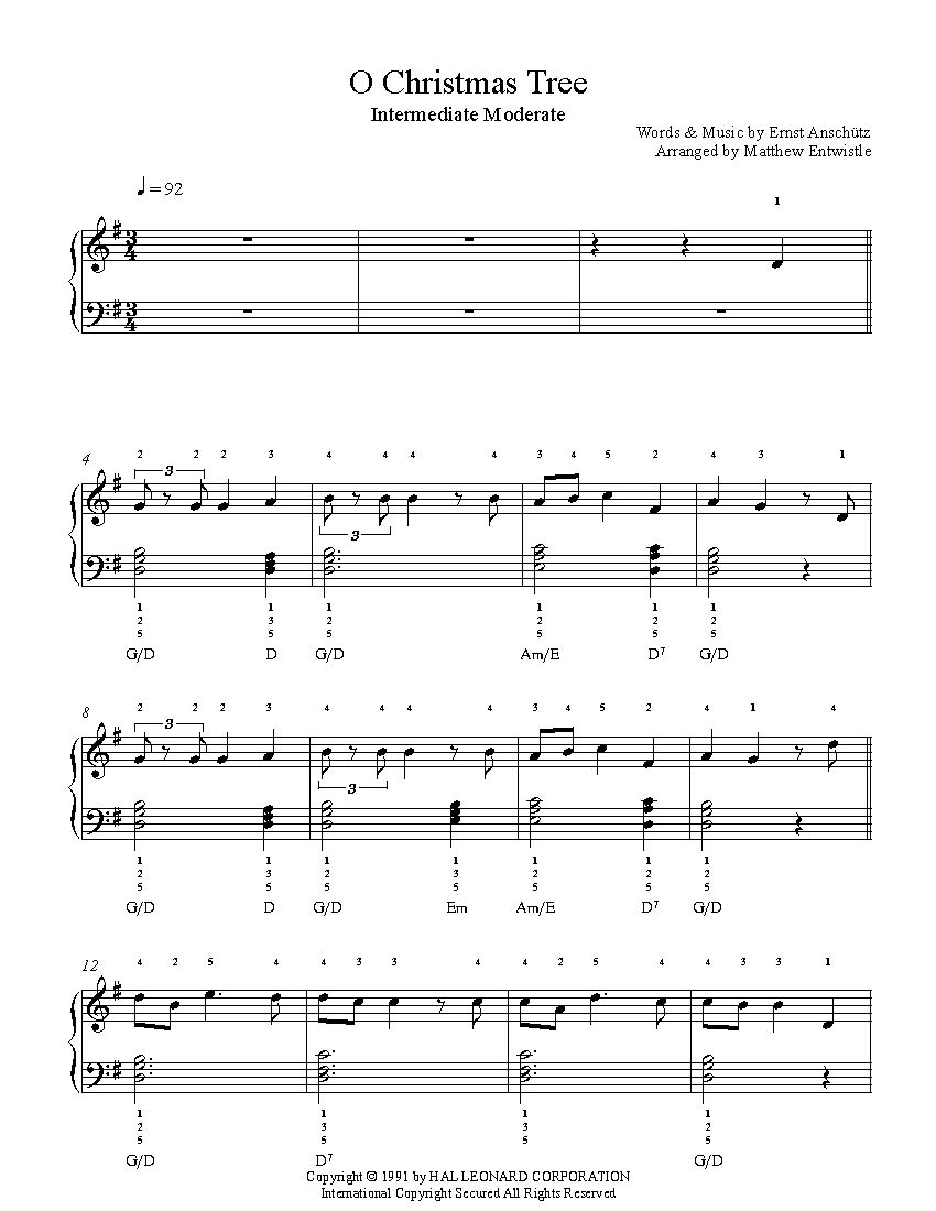 O Christmas Tree by Traditional Piano Sheet Music | Intermediate ...
