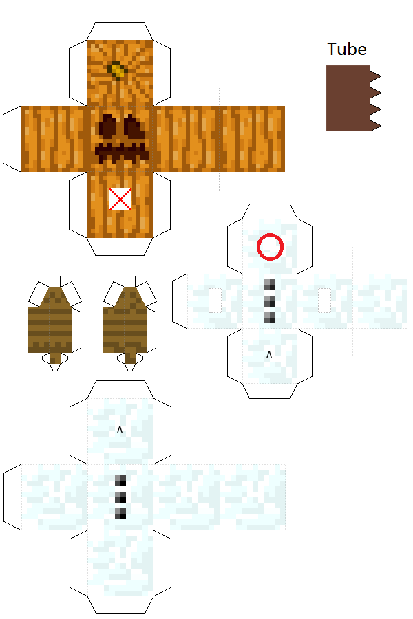 Papercraft Snow Golem With Spinning Head Snow Golem Paper Crafts Papercraft Minecraft