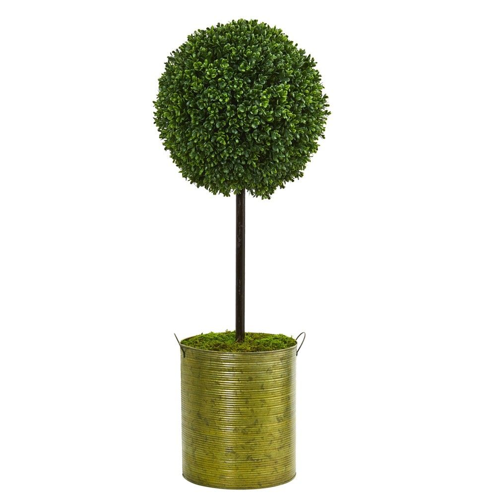 Ft boxwood topiary artificial tree in green tin nearly natural