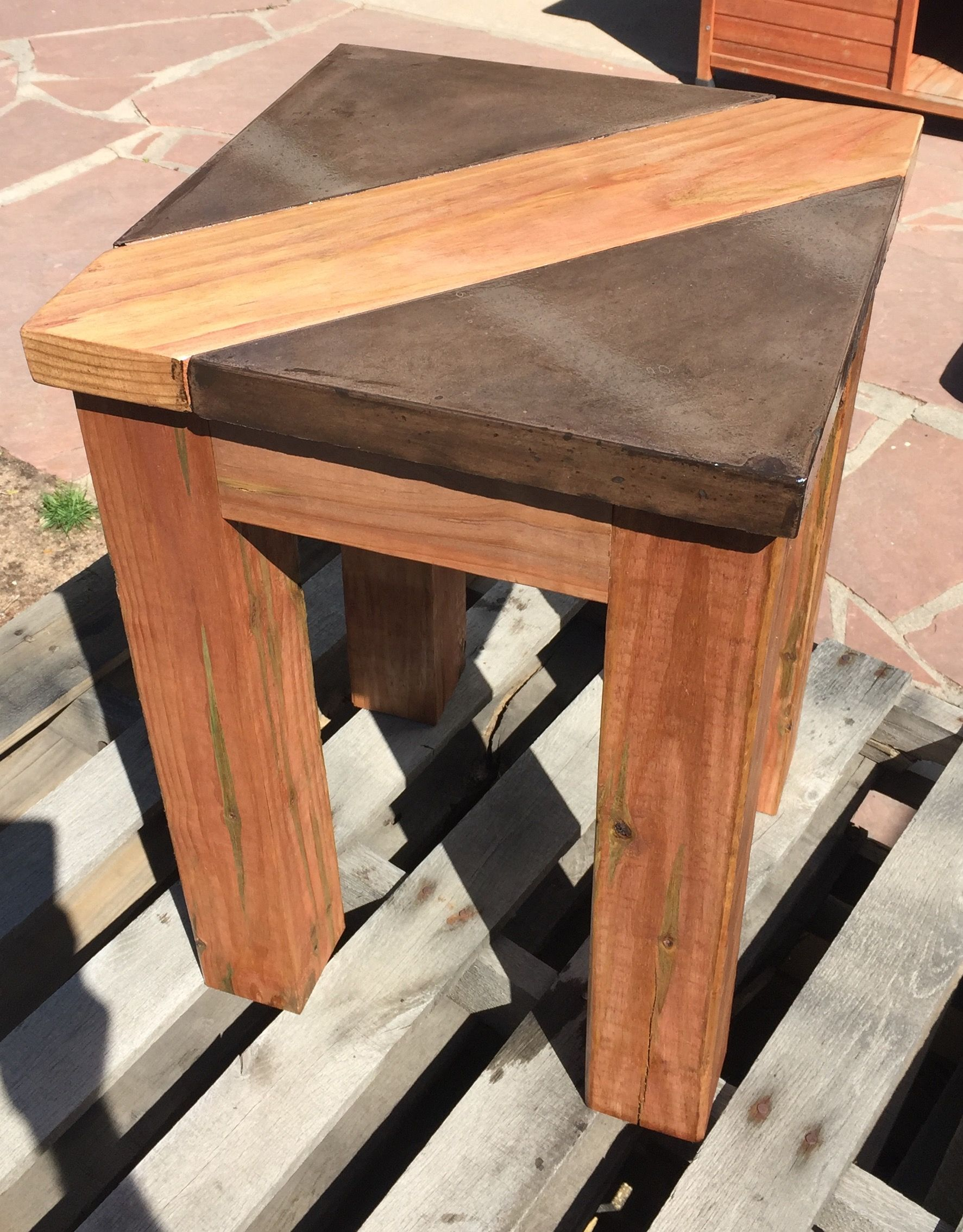Walnut Brown Concrete Table Top With Wood Inlay Is Thick Stands Tall Created By Dudley Design Llc
