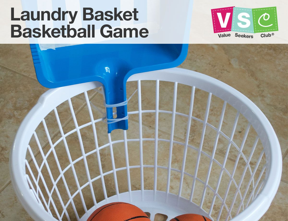If Rainy Days Are Keeping The Kids Indoors Create This Diy Laundry Basket Basketball Game Using 1 Do Sports Games For Kids Indoor Sports Games Games For Kids