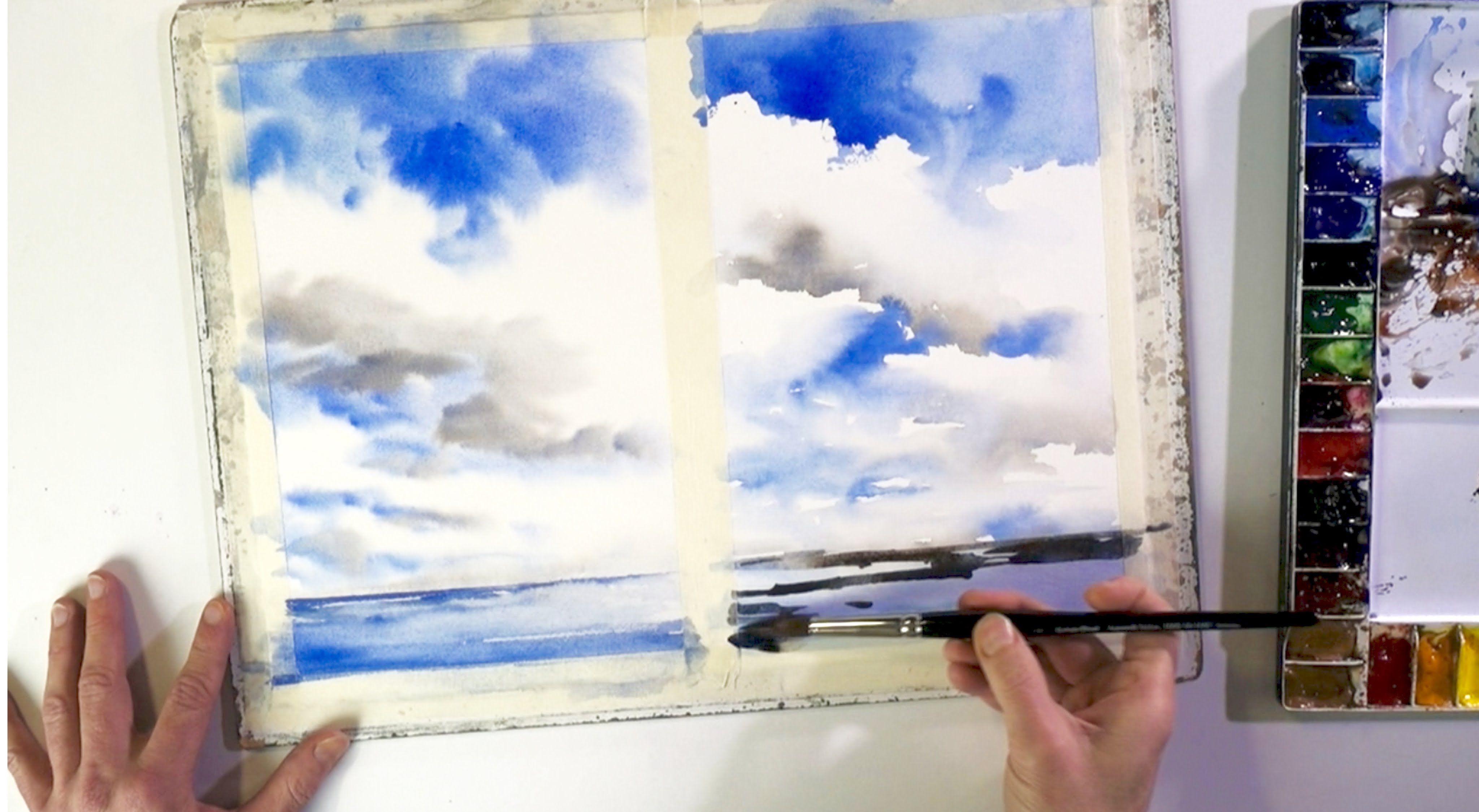 Ganz Einfach Malen Lernen 1 Wolken Im Aquarell Wolken Malen