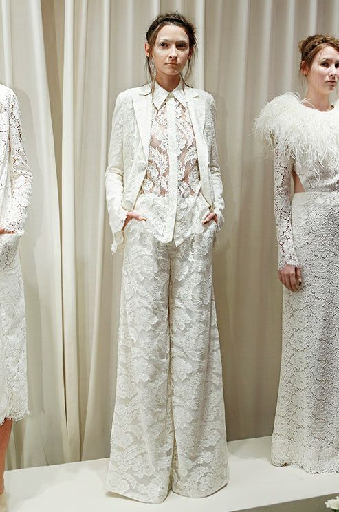 Best White Wedding Pant Suits For Bride Photos - Styles & Ideas ...