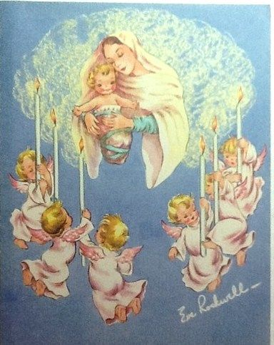 Angels Christmas Cards.1950 S Christmas Card Mary Baby Jesus Angels