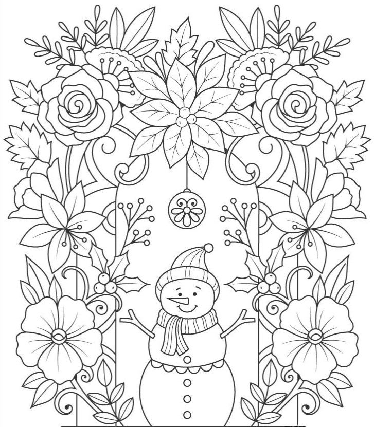 Снеговик с цветами - Новый год в 2020 г | Раскраски ...