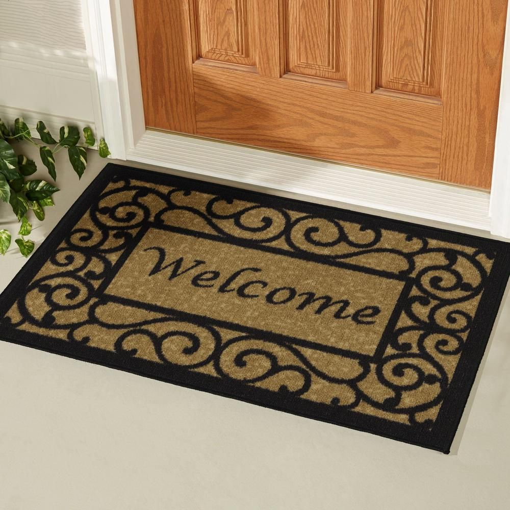 Ottomanson Welcome Beige 20 In X 30 In Non Slip Door Mat Oth2232 20x30 Door Mat Rug Stain Welcome Door Mats