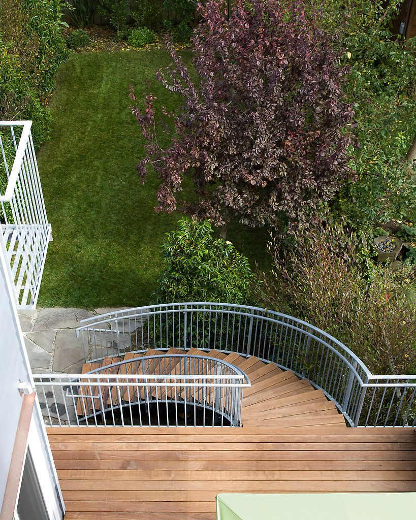 Best Outdoor Deck With Non Traditional Half Spiral Staircase 400 x 300