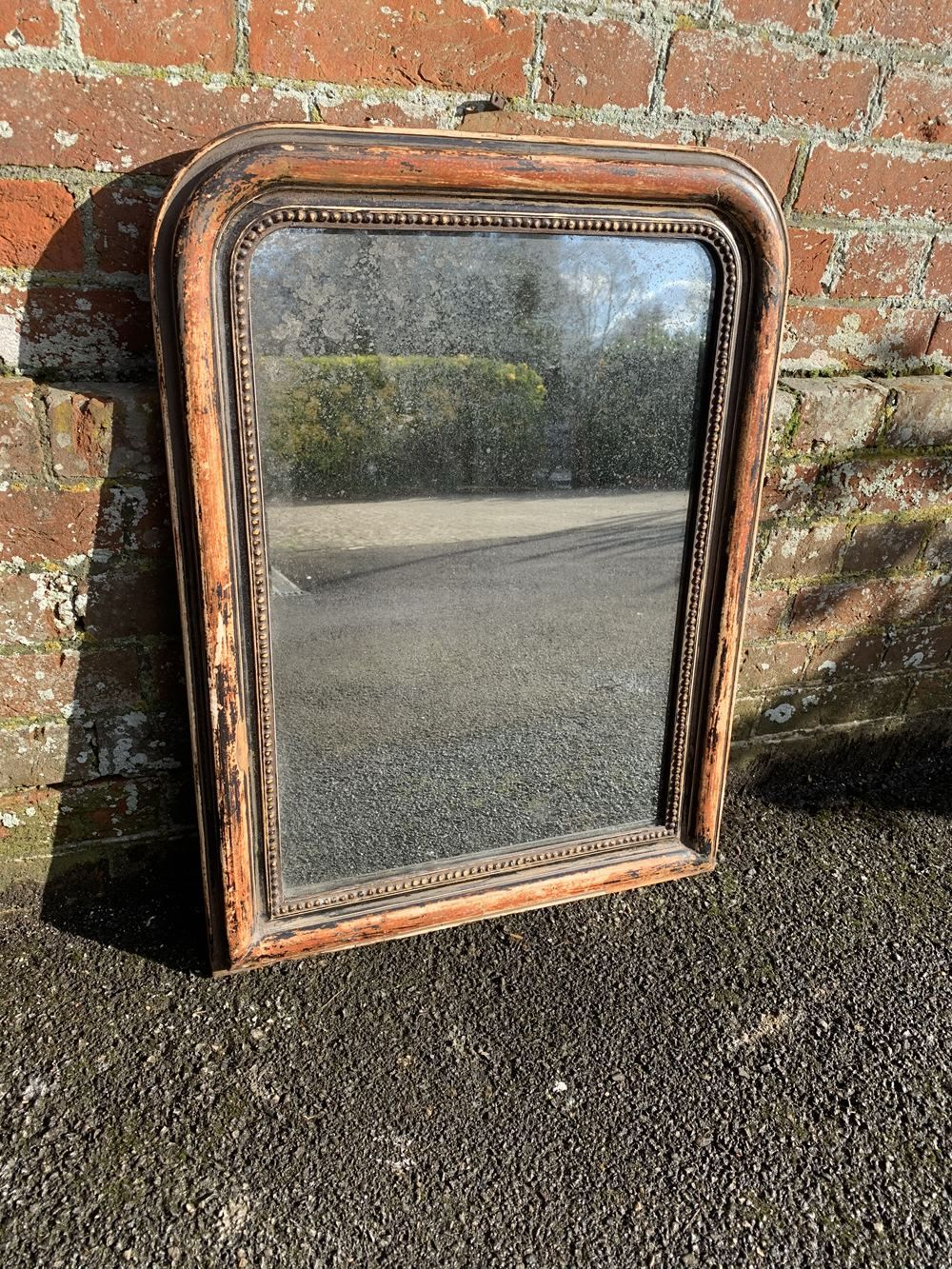 A Useful Size Antique French 19th Century Carved Wood Gesso Arched Top Original Distressed Painted Mirror In 2020 French Antiques Antique Mirror Large Antique Mirror