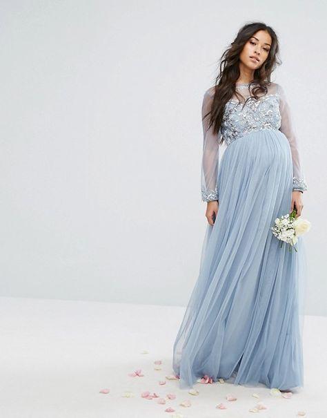 Pr/énatal Damen Umstandskleid Schwangerschaftskleid Grau