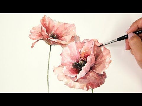 Watercolor Painting Red Poppy Youtube Aquarell Ideen Blumen Zeichnen