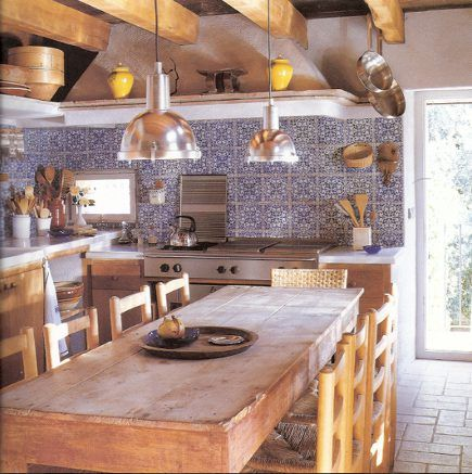 Blue And White Patterned Tile Backsplash In A Rustic Kitchen Handmade Tiles Can Be Colour Coordinated