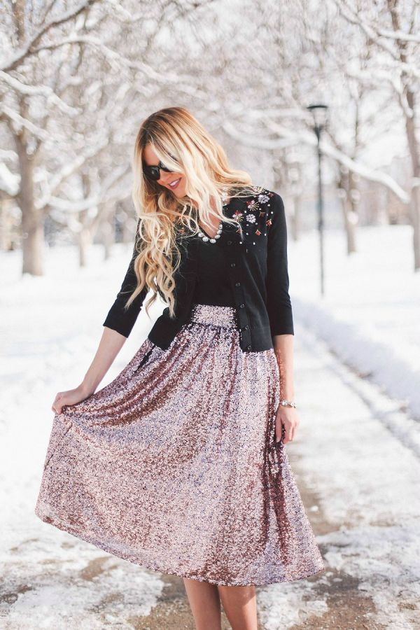 Holiday Series: Sequin Skirt by Amber Fillerup on Fashion Indie