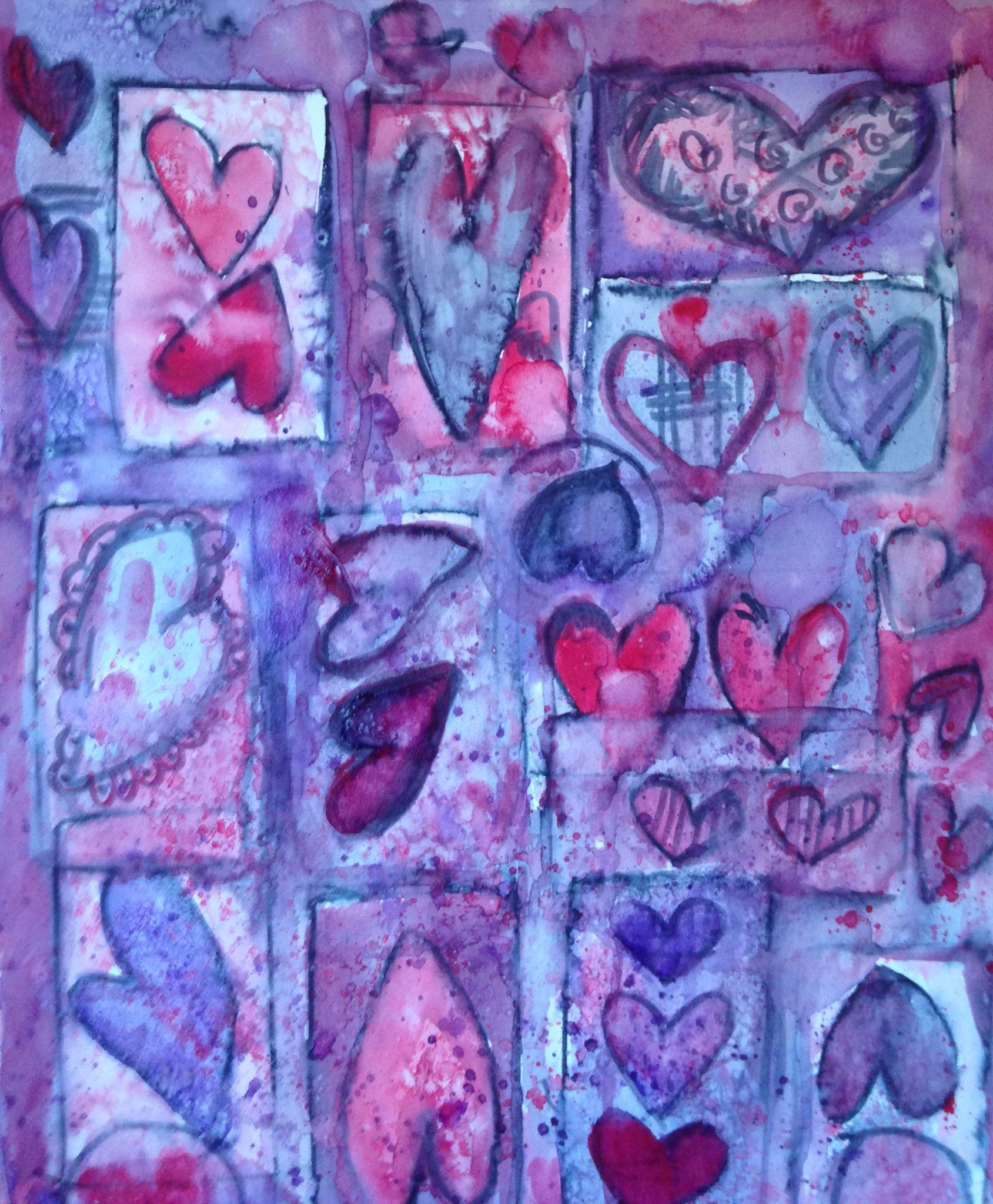 Hearts galore. Water color.