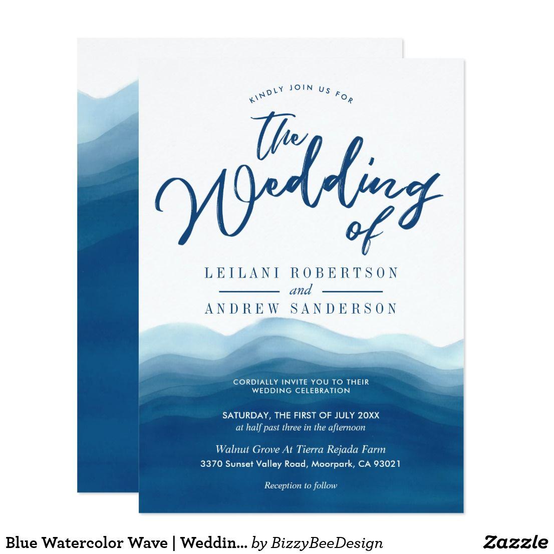 Vintage Waves Wedding Invitation Set  Beach Wedding Invitations Modern Beach Wedding Coastal Watercolor Aqua Romantic Bohemian Script