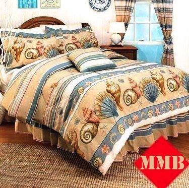 4pc King Queen Tropical Sea Shell Comforter Set Drapes