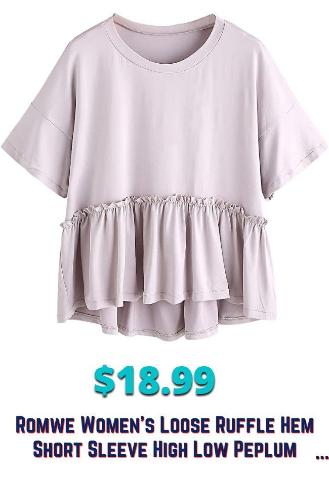 Romwe blusa de manga corta con volantes sueltos y dobladillo alto y bajo con peplum para mujer  – Moda