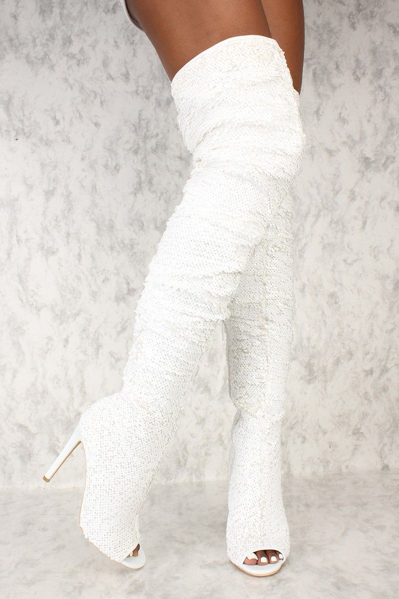 eb615a758 Buy Sexy White Sequin Peep Toe Thigh High Heels Boots with cheap price and  high quality