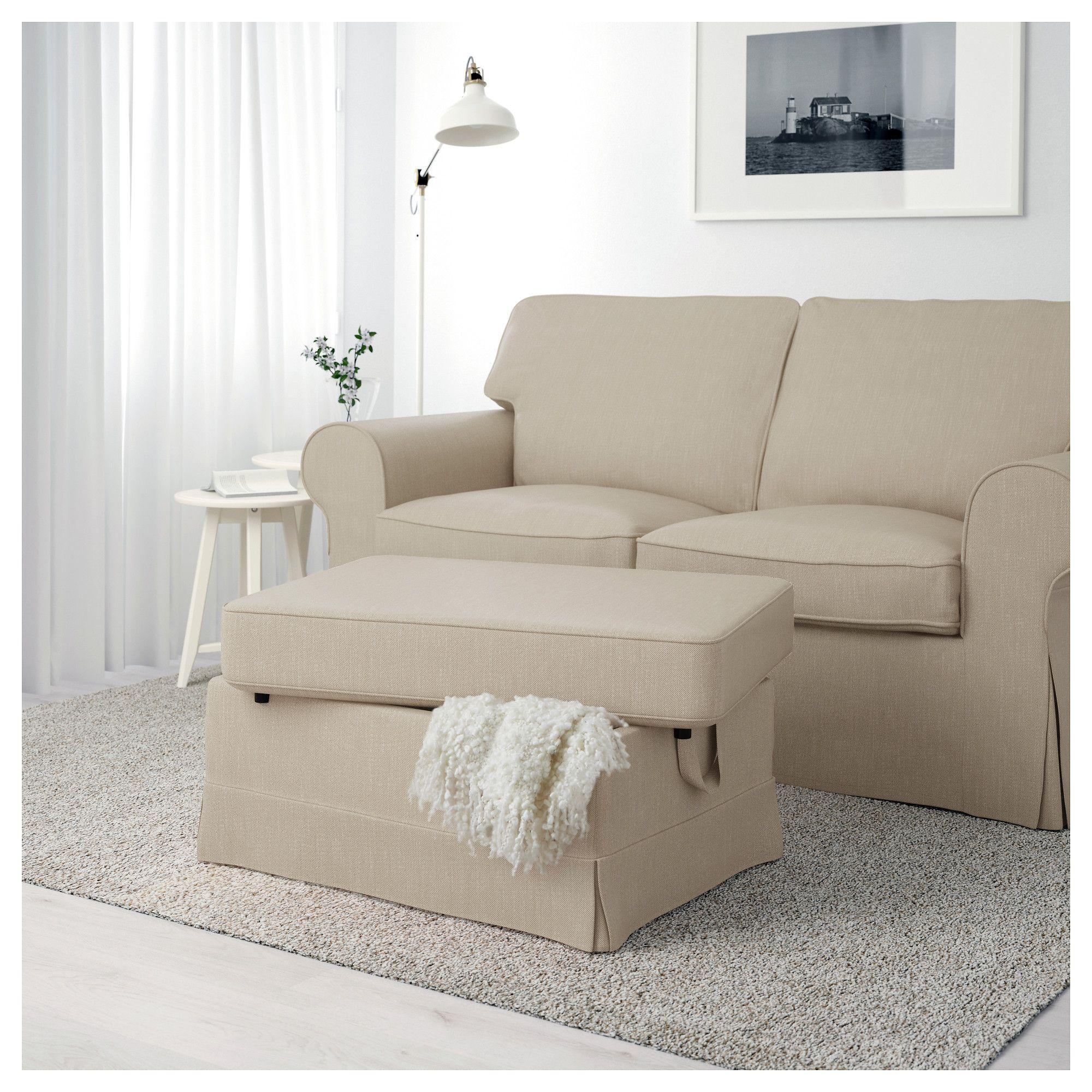 ikea  ektorp footstool nordvalla dark beige  living room