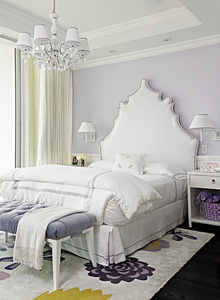 Lavender Bedroom With White Headboard