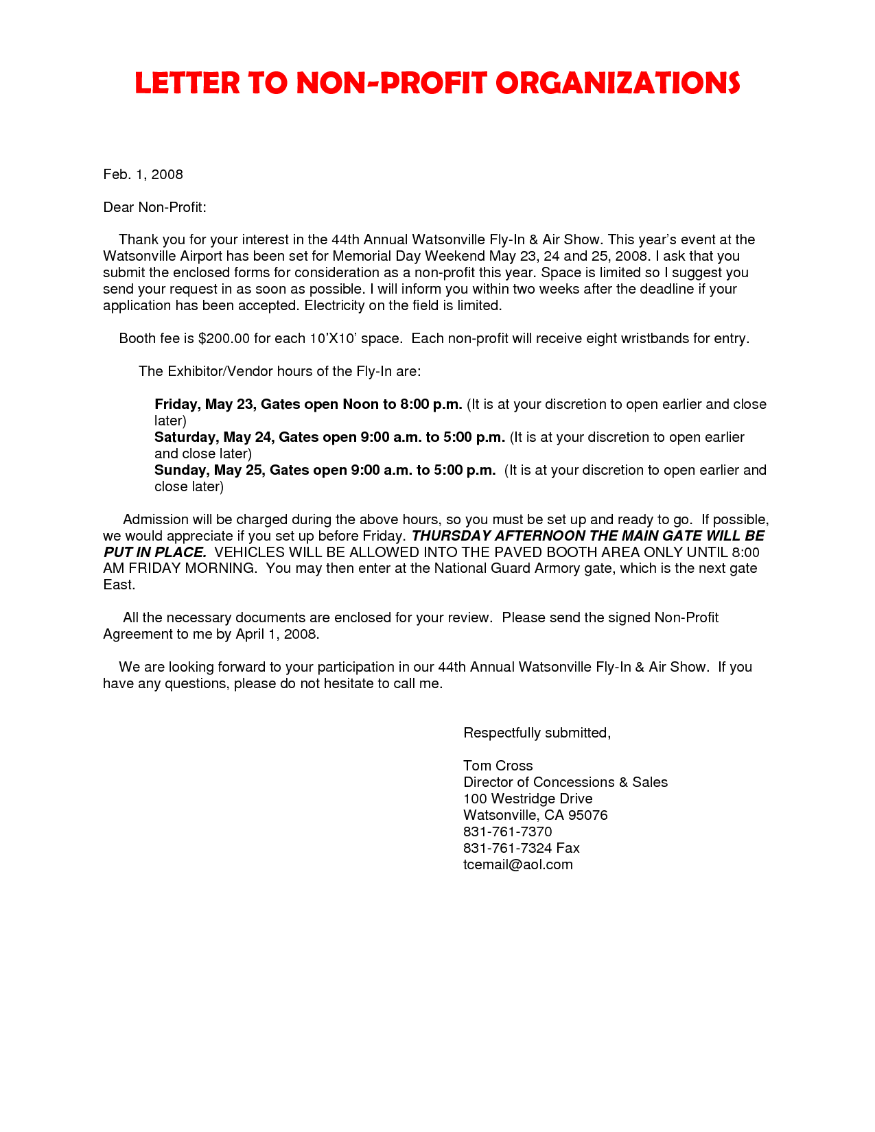 Cover Letter Non Profit Organization Cover Latter Sample