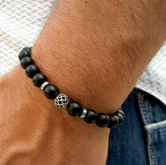 stretchy with black w silver sterling file page tube s beaded bracelet matte men product onyx mens