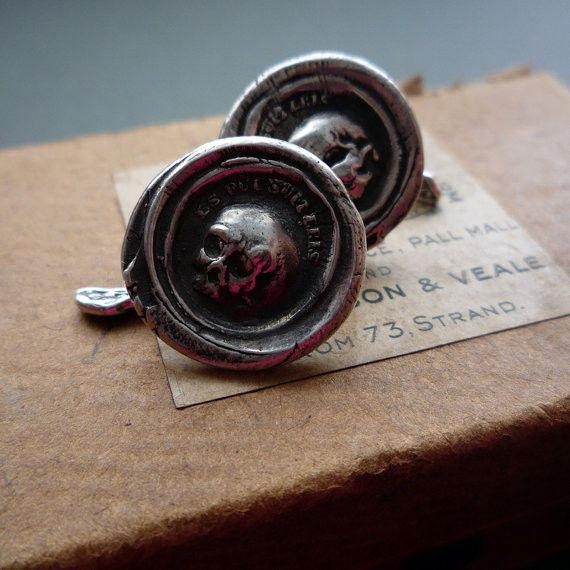 Olive and Pimento wax seal cufflinks.