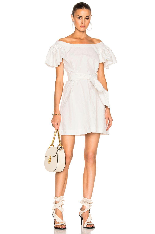 Isa arfen frou frou sleeves short dress in white isa arfen