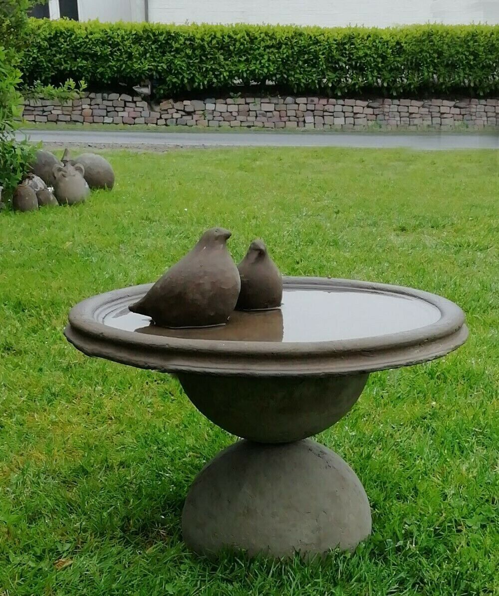 Xl Stone Bird Pots Bird Bath 47 Cm Bowl On Ball Base 2 Birds Etsy In 2020 Bird Bath Concrete Bird Bath Rustic Bird Baths