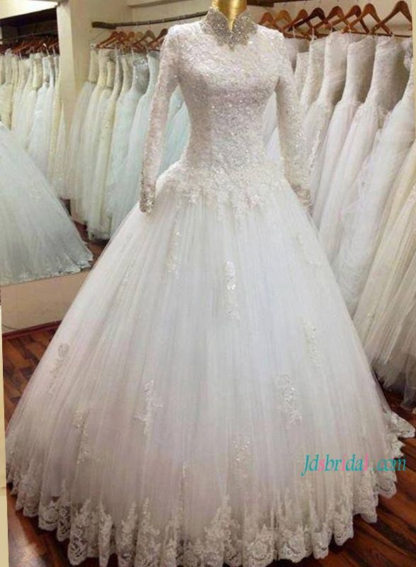 H1180 Modest High Neckline Long Sleeves Muslim Wedding Ball Gown