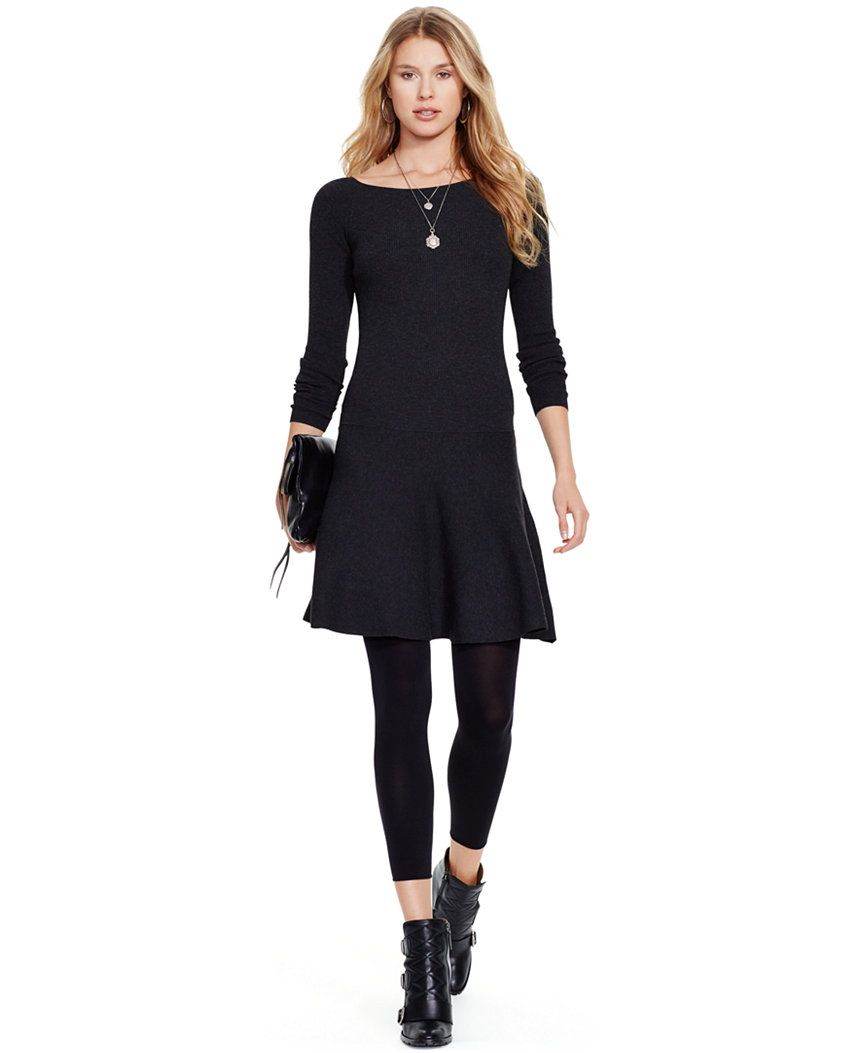 345ea49bb8 Polo Ralph Lauren Ribbed Fit   Flare Sweater Dress - Dresses - Women -  Macy s