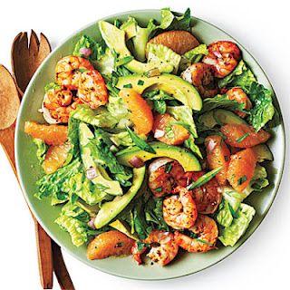 shrimp, avocado and grapefruit