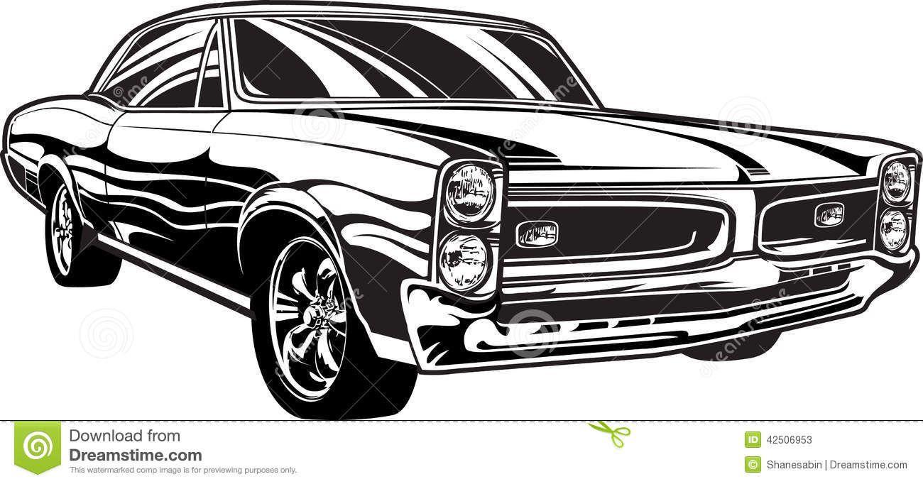 S Muscle Car Illustration Jpg Silueta De