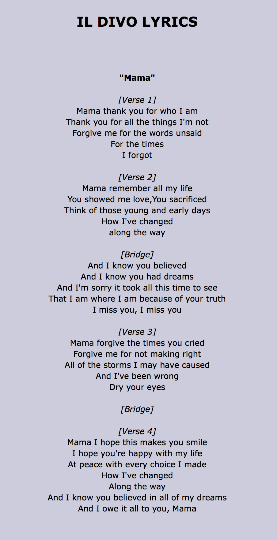 Il divo mama lyrics music pinterest - Il divo mama ...