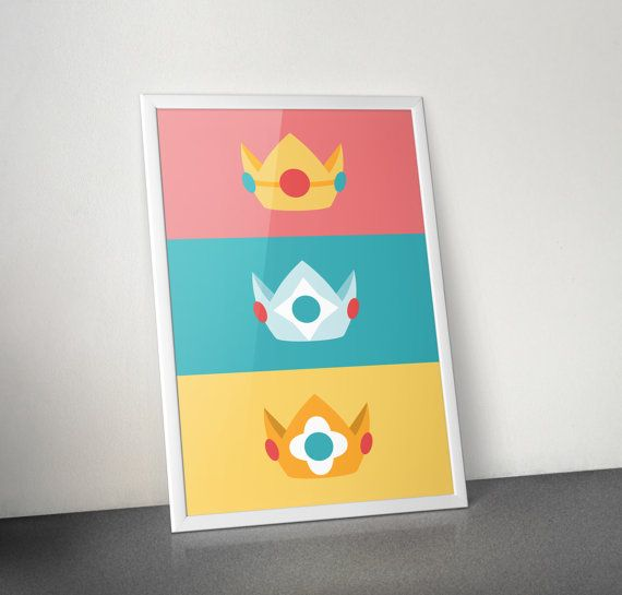 Nintendo Princess Crown Poster Peach Rosalina Daisy