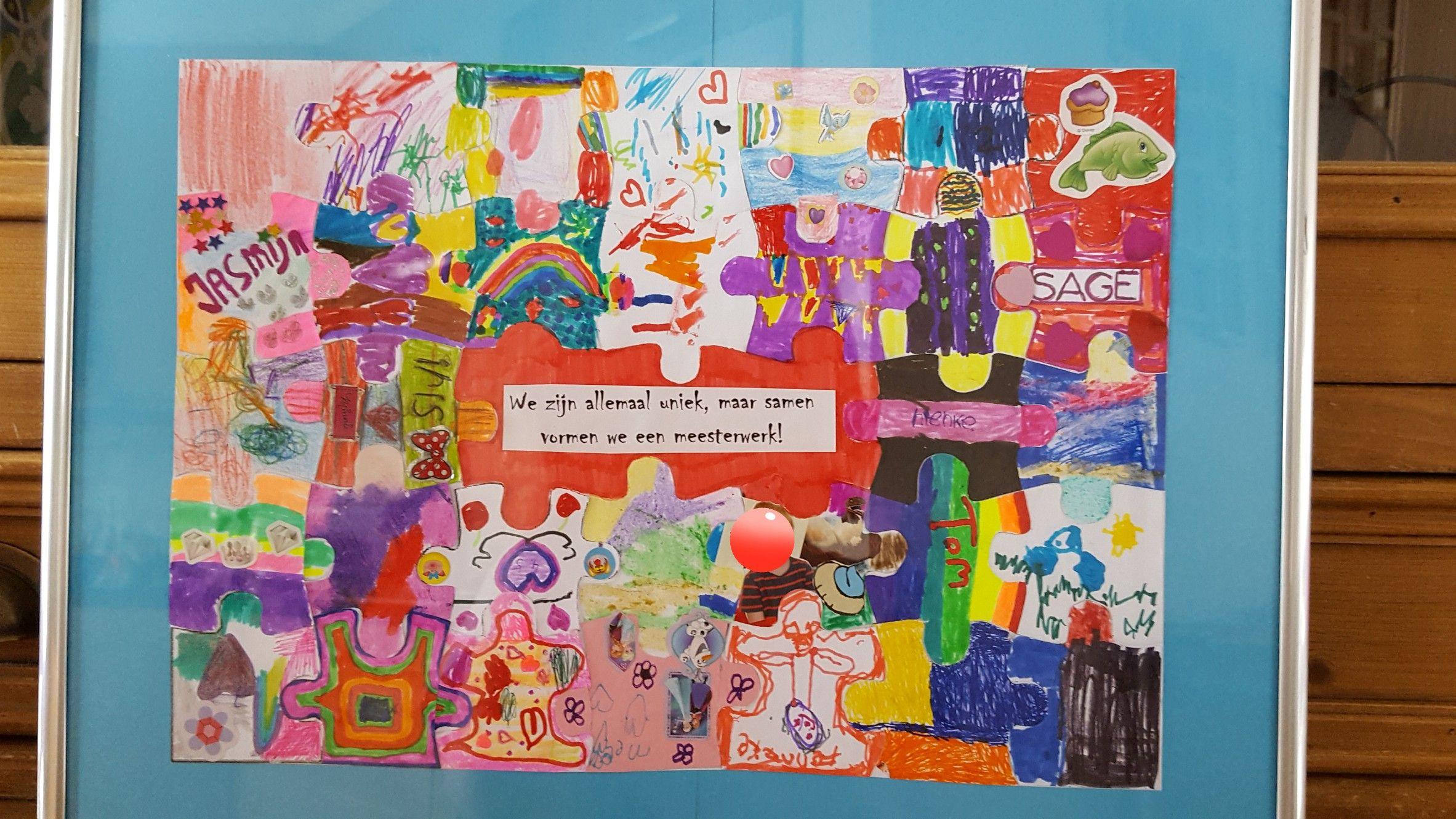Een puzzel waarbij elk kind uit de klas een eigen puzzelstukje