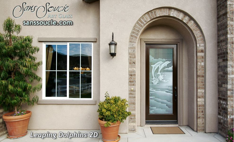 Leaping Dolphins 2d Glass Entry Front Doors Glass Entry Doors