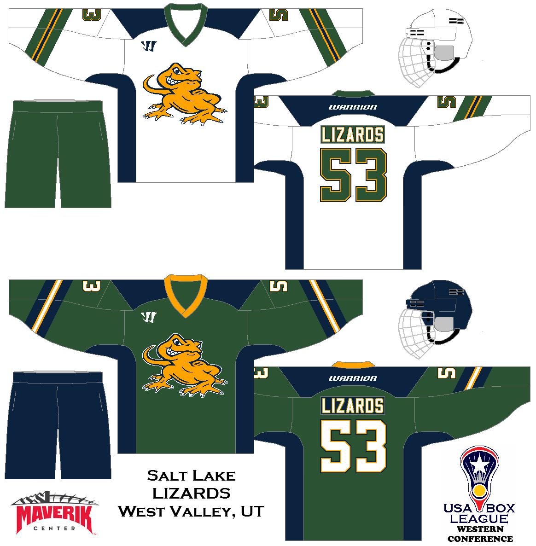 My Fictional Box Lacrosse League The Us Box Lacrosse League Salt Lake Lizards Uniform Set Concept Box Lacrosse Lacrosse League