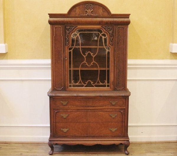 Small Vintage Walnut Lighted China Cabinet Curio. American C.1940 ...