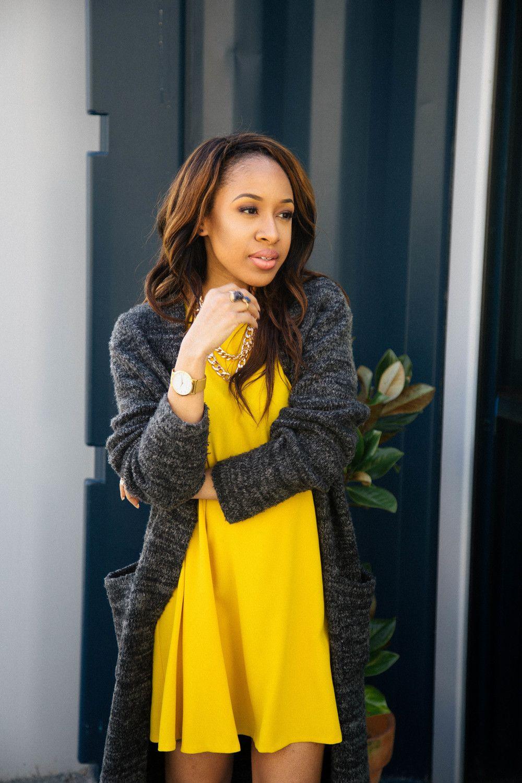 Yellow Shift Dress   Grey Cardigan   style icons   Pinterest ...