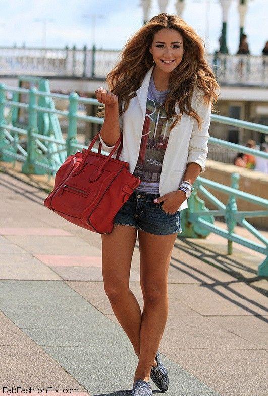 White blazer, denim shorts and Celine handbag for chic summer ...