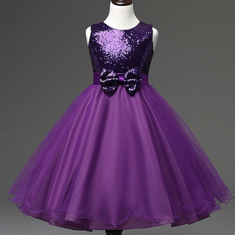 2016 Girl Dresses Solid Sequined Dresses for Party and Wedding Kids ...