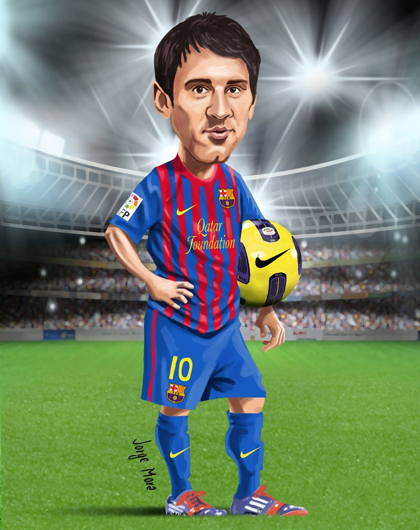 Messi Barcelona Caricaturas Poster De Futbol