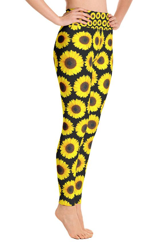 dd9208f528bf7 Sunflower Leggings - Summer Leggings - Sunflower Costume - Print Leggings -  Sunflower pants - Plan