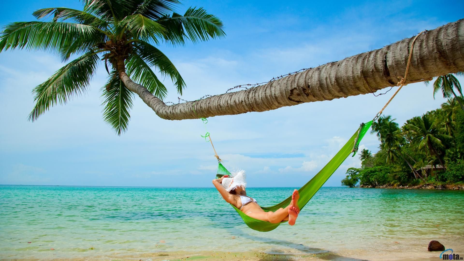 Tropical Beach Wallpaper Island Hammock Free Desktop Toobjects 1920x1080px