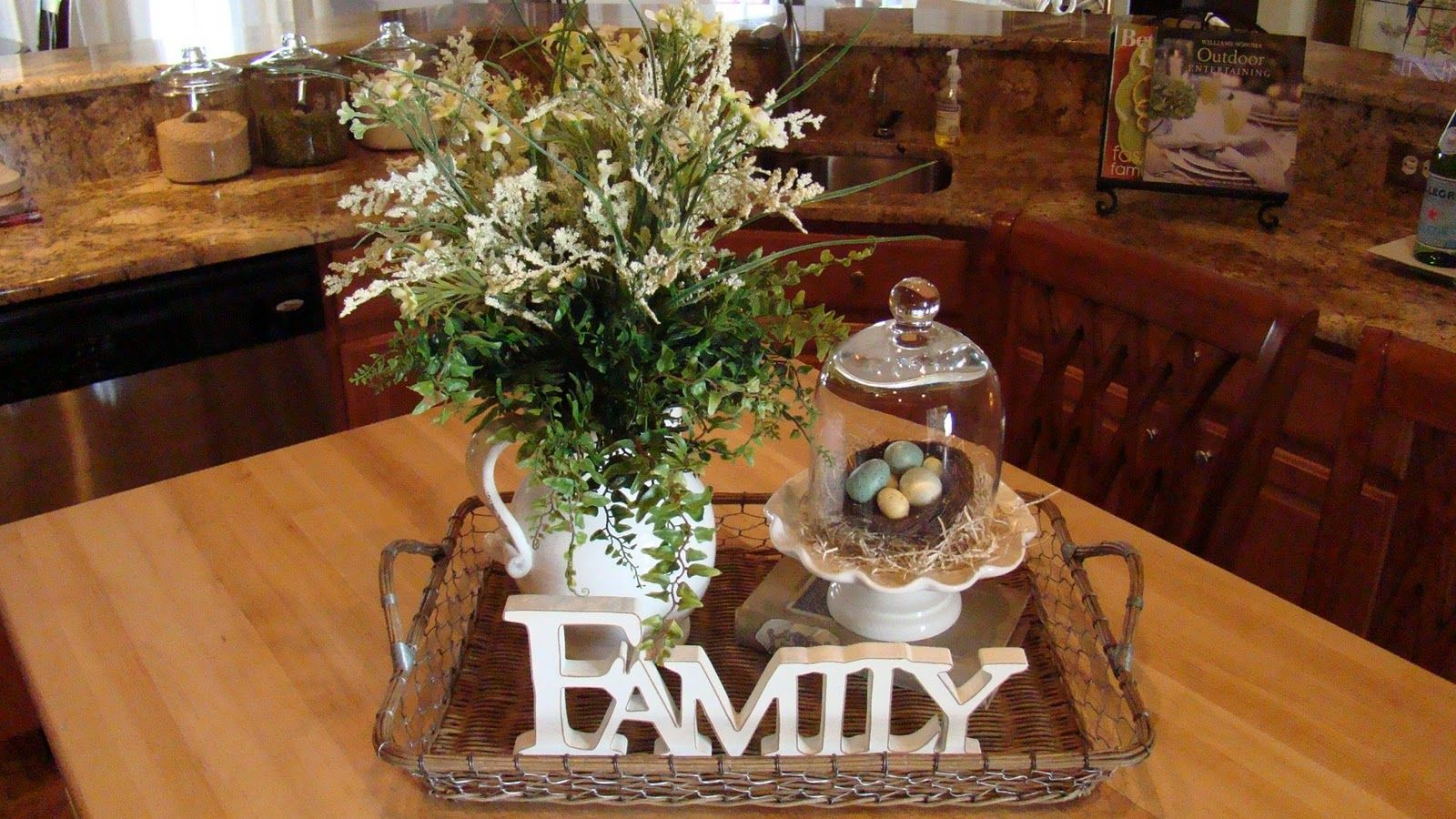 Adventures In Decorating Spring Has Hit The Kitchen Kitchen Table Centerpiece Tray Decor Kitchen Table Decor