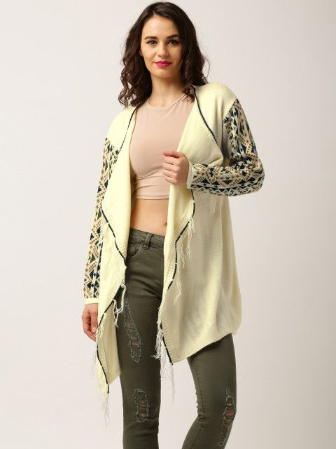 e8779c876 Buy All About You From Deepika Padukone Cream Coloured Patterned Shrug -  Shrug for Women   Myntra