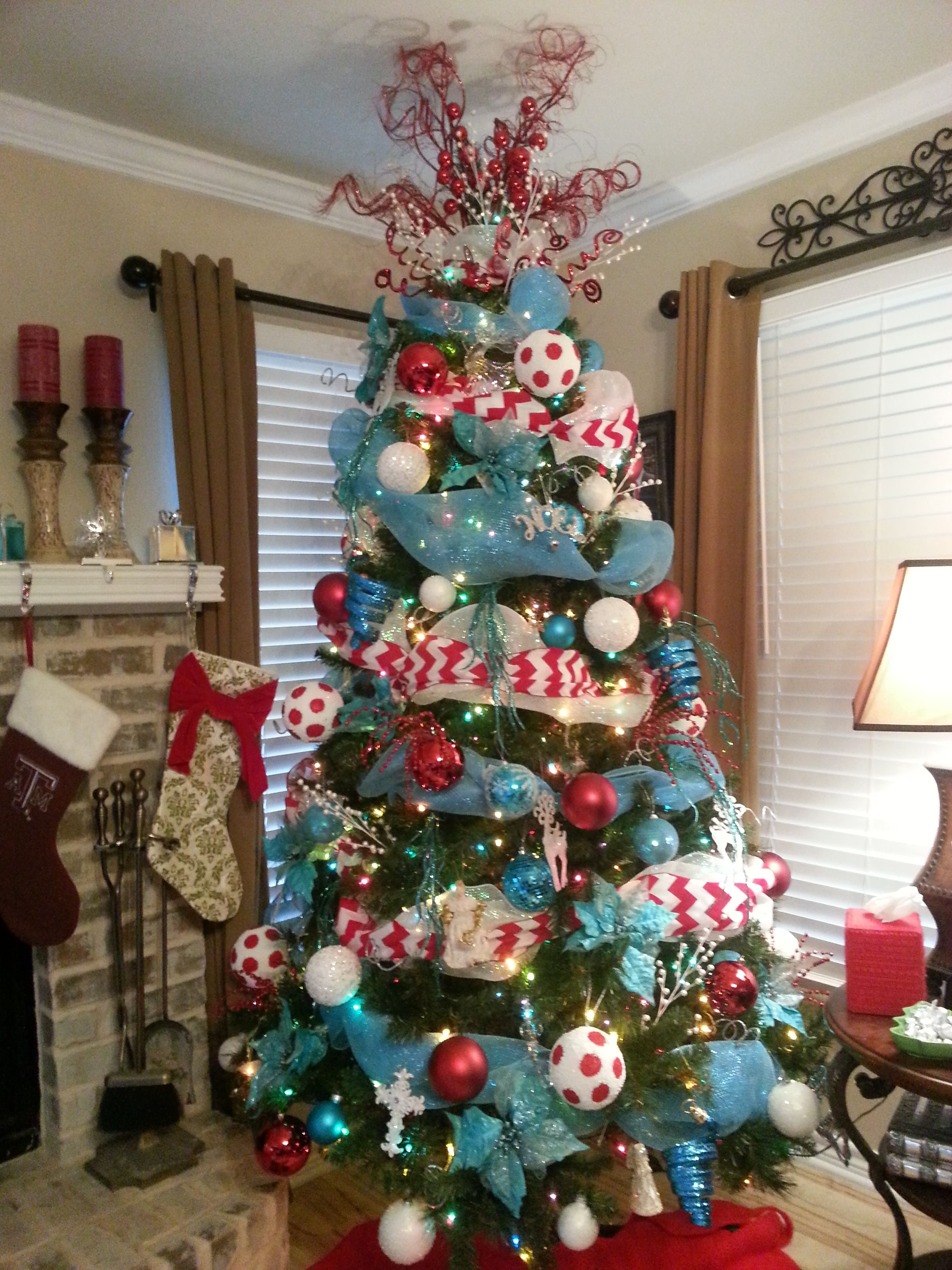turquoise and red christmas tree