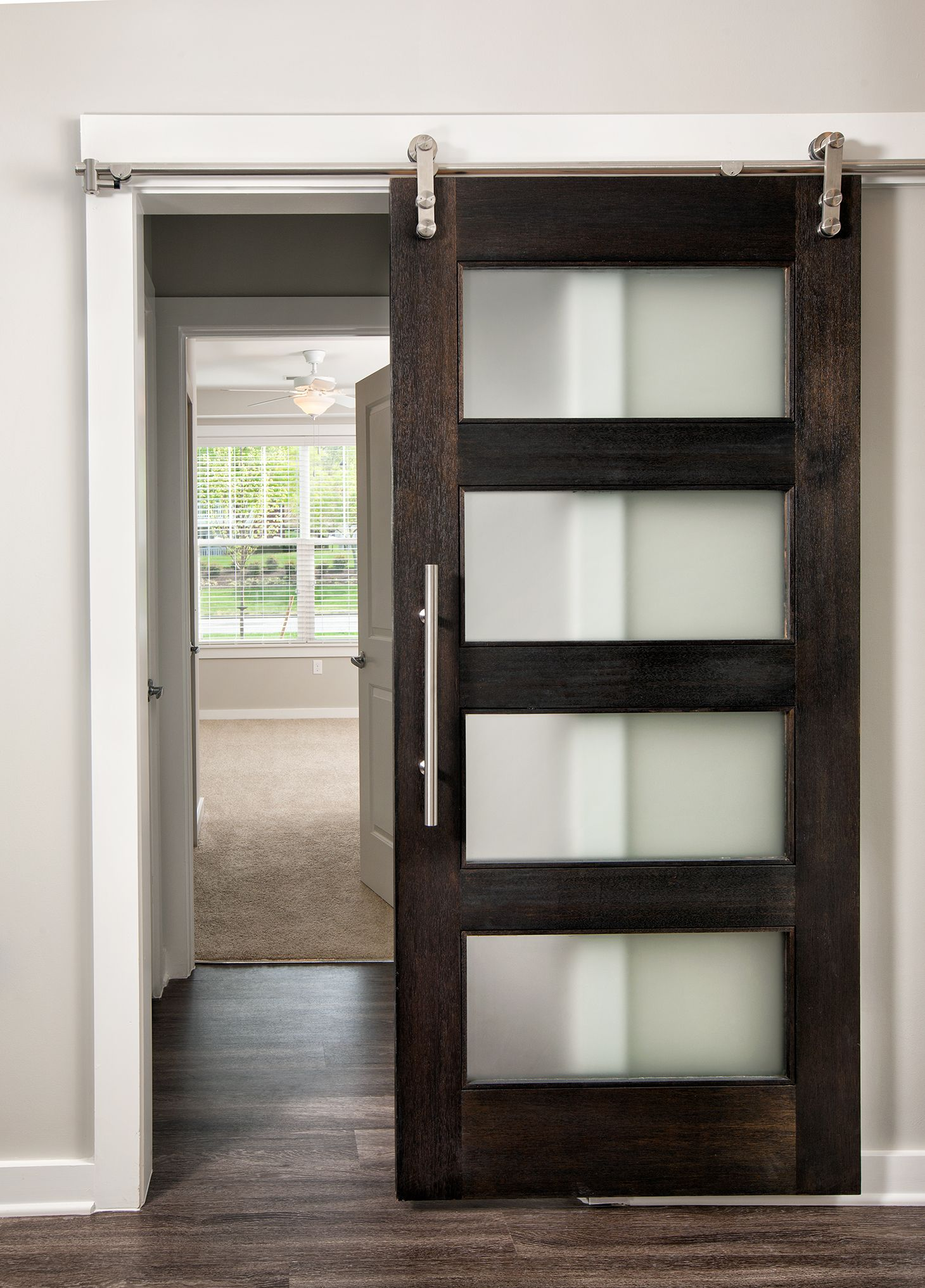 modern style barn door with frosted glass mahogany - Frosted Glass Barn Door