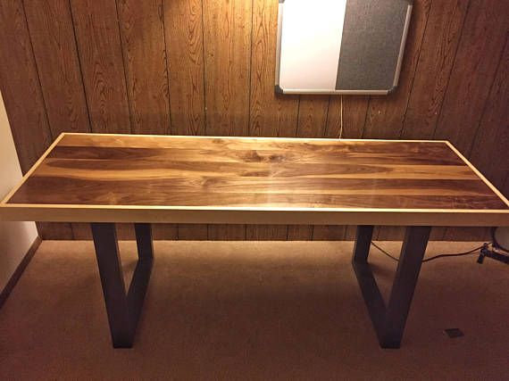 A Beautiful Modern Walnut Desk Top With Maple Trim And Black