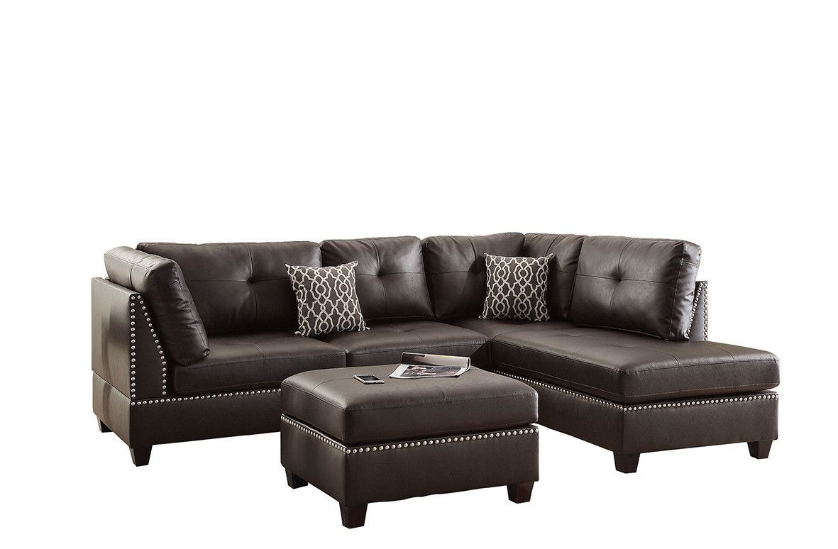 Bobkona Viola Reversible Chaise Sectional Leather Sectional Sofas Sectional Sofa Sectional Sofa Couch